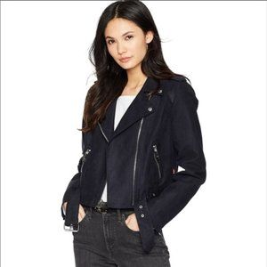 Levi's Navy Faux Suede Zippered Moto Jacket NWT